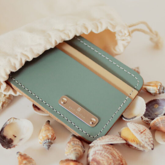 Leather Card Holder Wallet Stormy Sea
